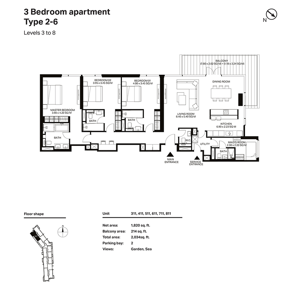 Building 3  -2 Bedroom Apartment Type 2 - 6 Level 3 to 8 Size 2034  sq. ft.