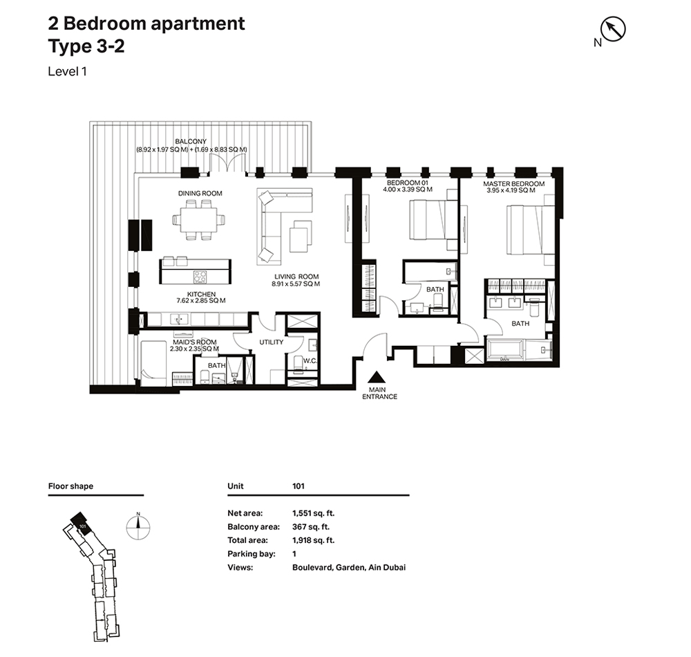 Building 3  -2 Bedroom Apartment Type 3 - 2  Level 1 Size 1918  sq. ft.