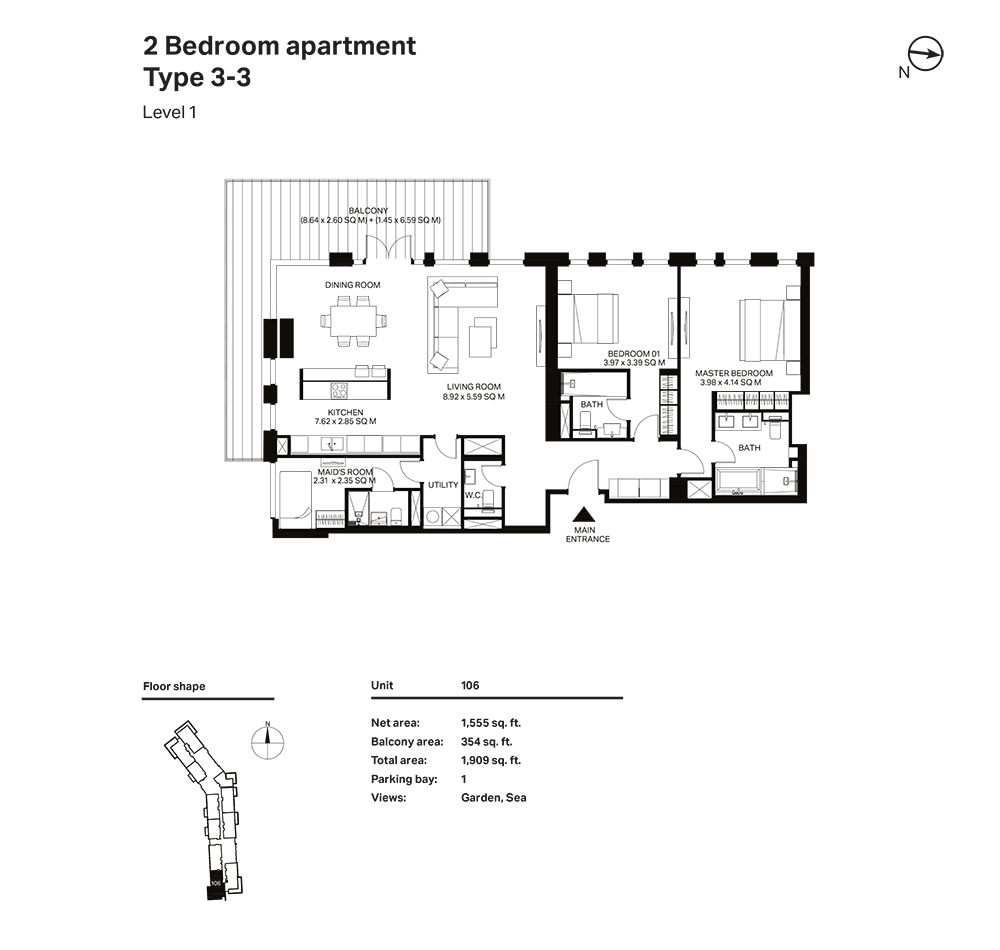 Building 3  -2 Bedroom Apartment Type 3 - 3 Level 1 Size 1909  sq. ft.