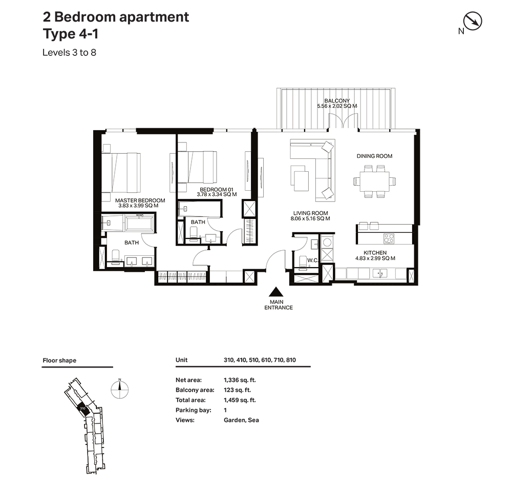 Building 3  -2 Bedroom Apartment Type 4 - 1 Level 3 to 8 Size 1459  sq. ft.