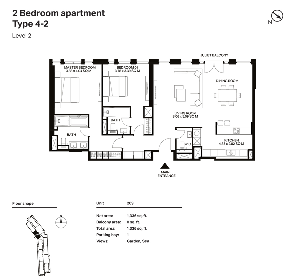 Building 3  -2 Bedroom Apartment Type 4 - 2 Level 2 Size 1336  sq. ft.