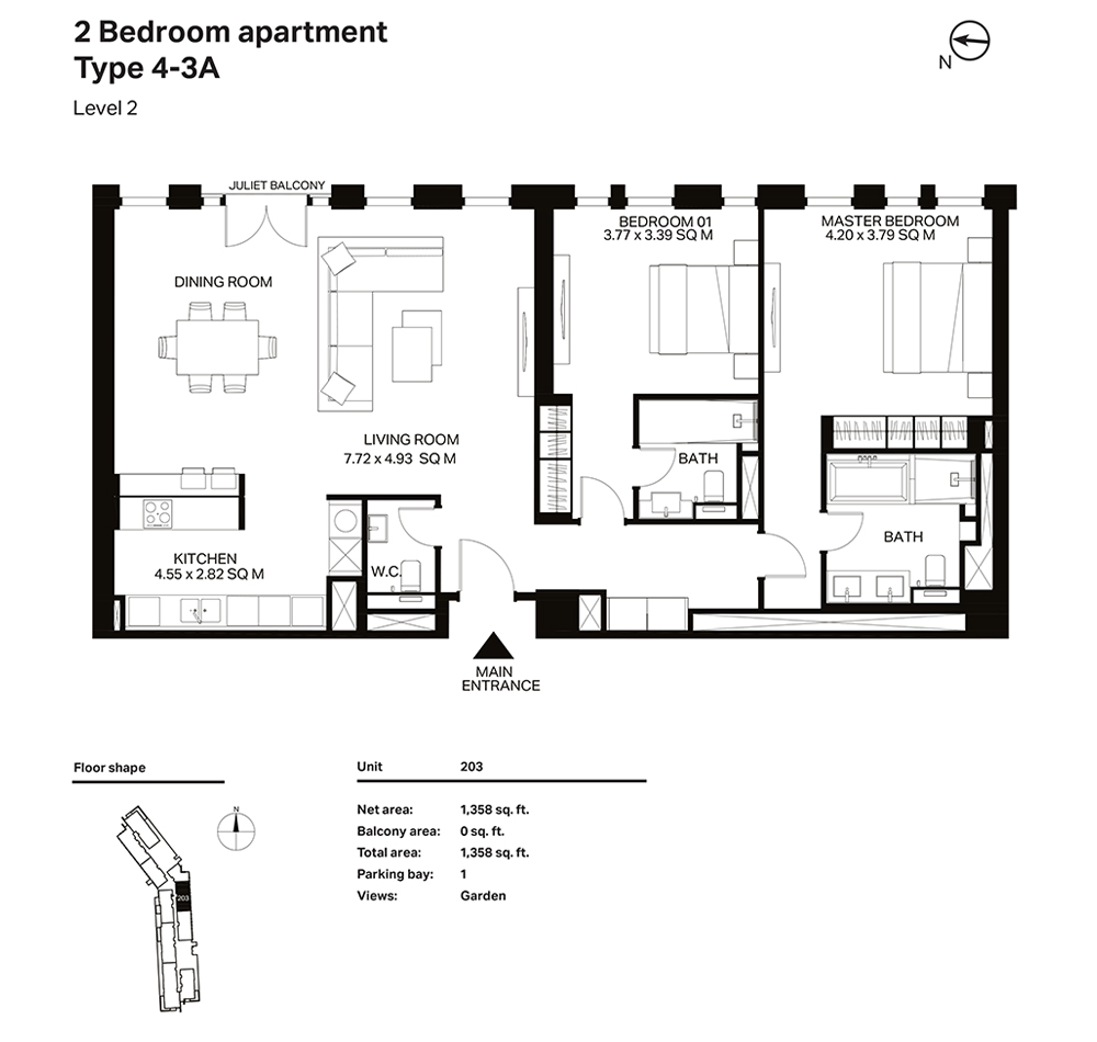 Building 3  -2 Bedroom Apartment Type 4 - 3 A  Level 2 Size 1358  sq. ft.