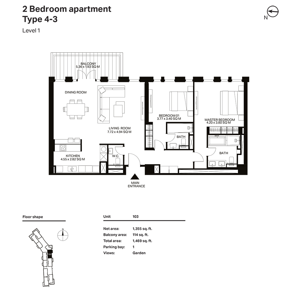 Building 3  -2 Bedroom Apartment Type 4 - 3 Level 1 Size 1469  sq. ft.