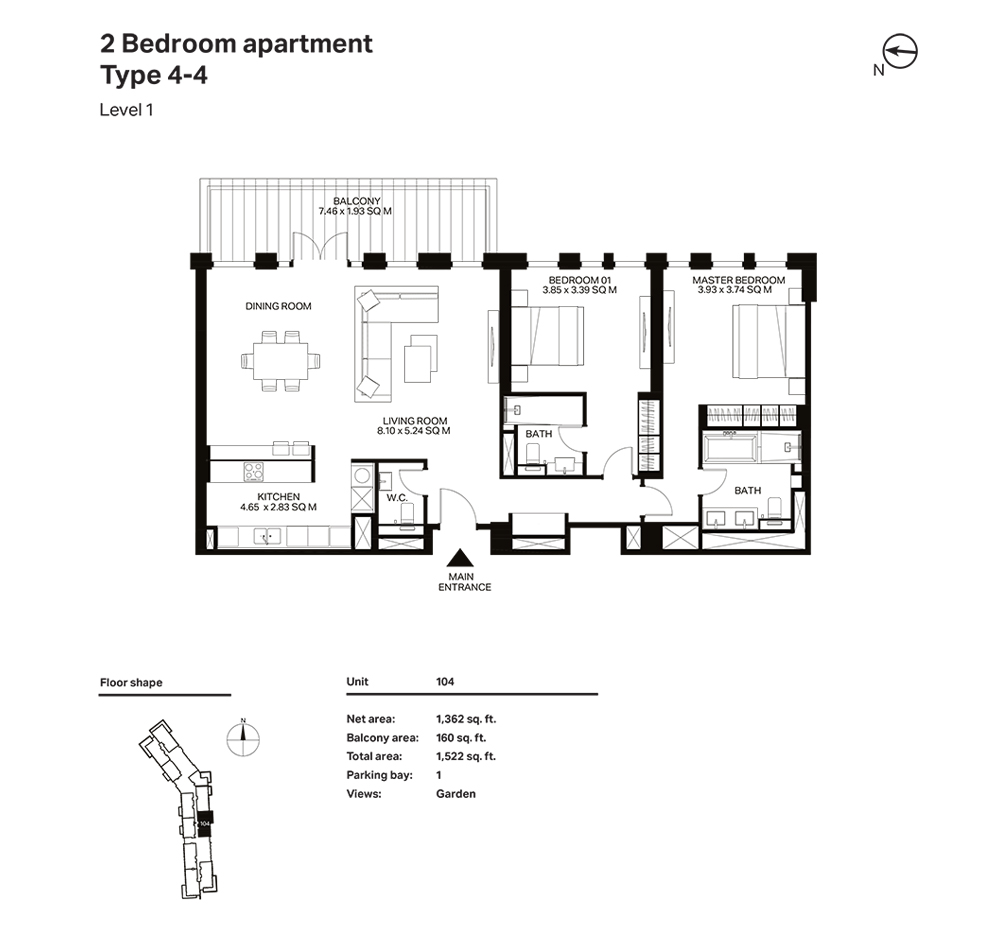 Building 3  -2 Bedroom Apartment Type 4 - 4 Level 1 Size 1522  sq. ft.