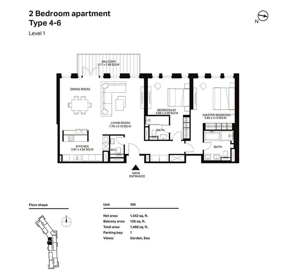 Building 3  -2 Bedroom Apartment Type 4 - 6 Level 1 Size 1468  sq. ft.