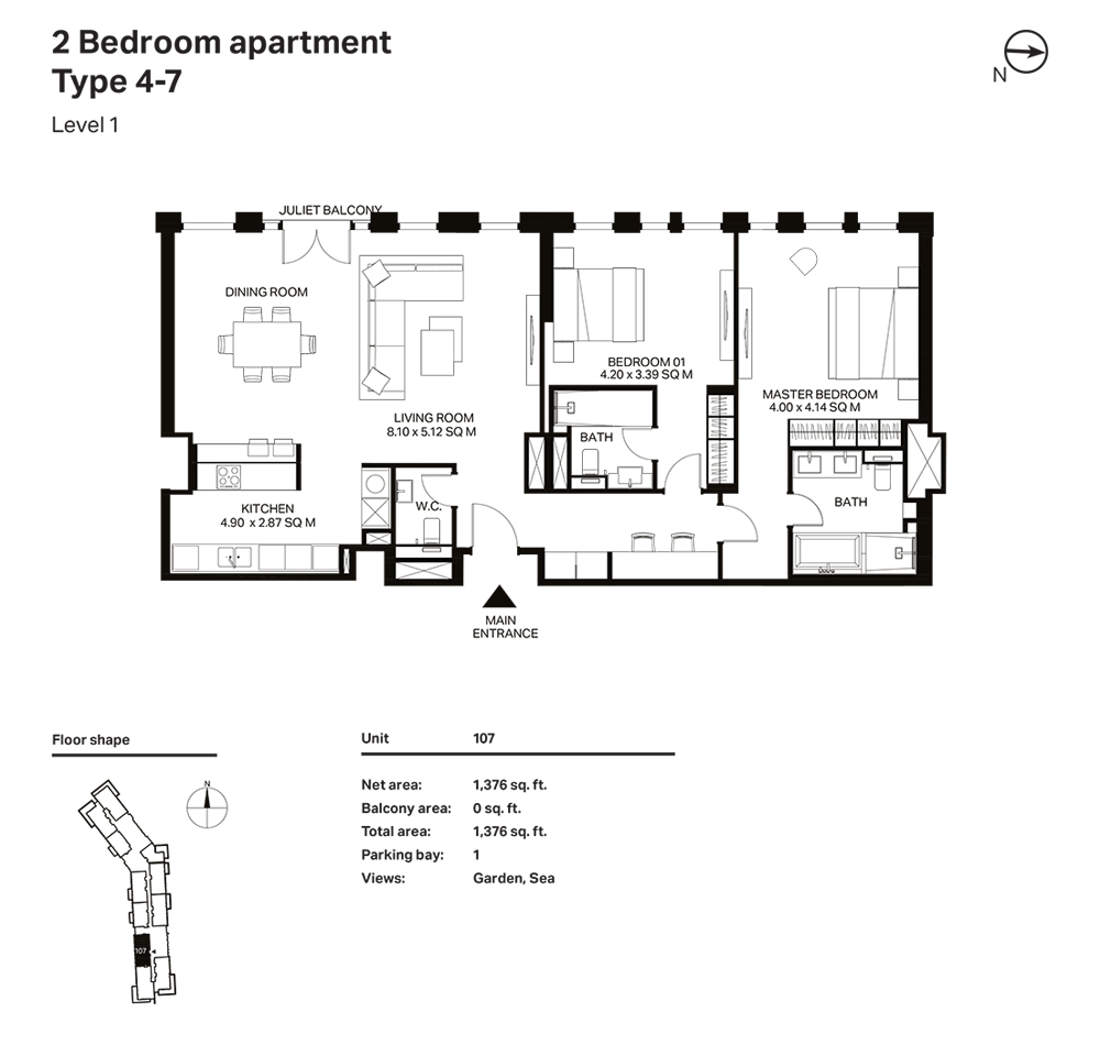 Building 3  -2 Bedroom Apartment Type 4 - 7 Level 1 Size 1376  sq. ft.