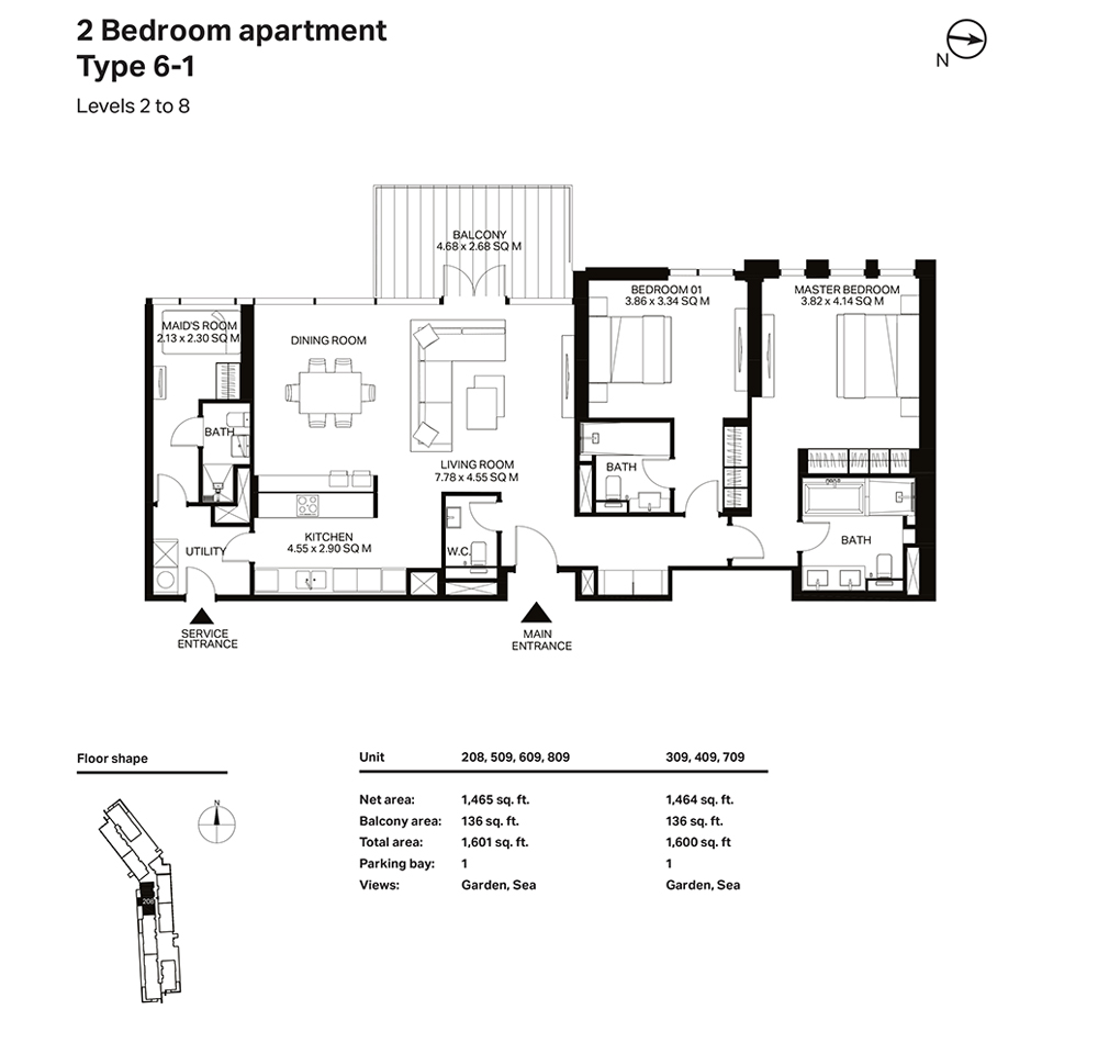 Building 3  -2 Bedroom Apartment Type 6 - 1 Level 2 to 8 Size 1601  sq. ft.
