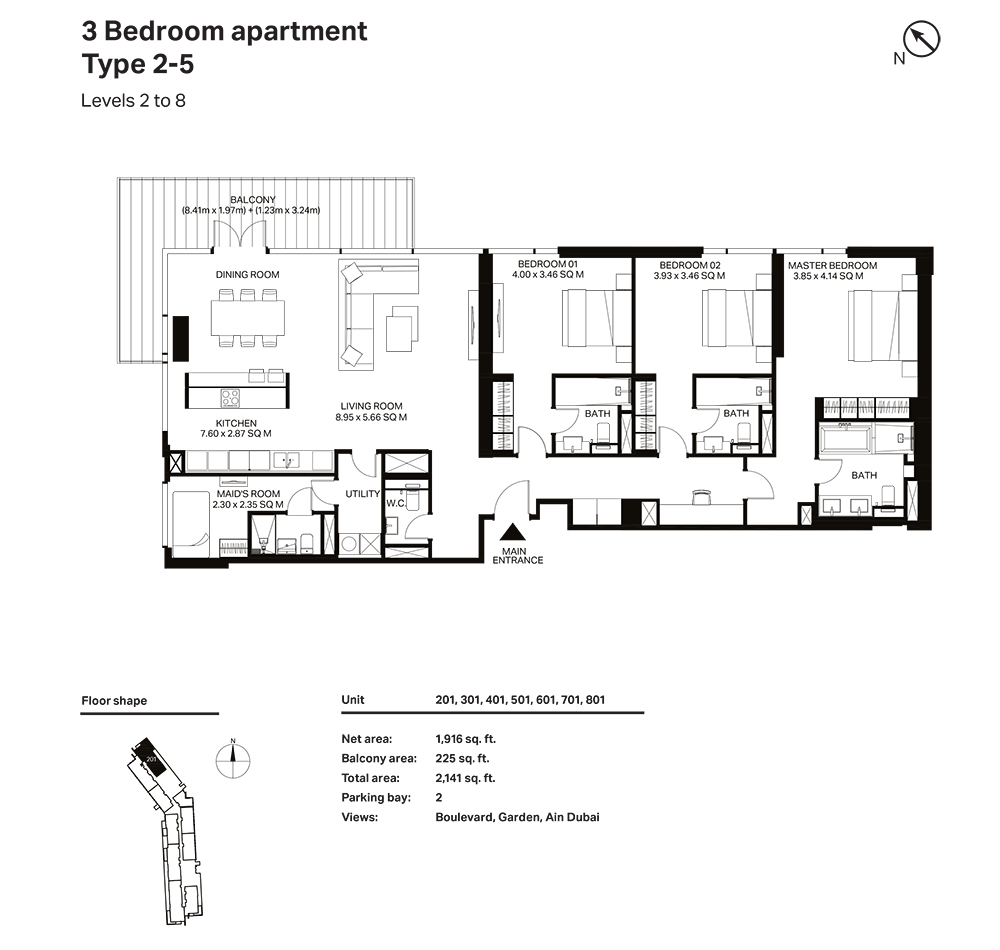 Building 3  -3 Bedroom Apartment Type 2 - 5 Level 2 to 8 Size 2141  sq. ft.