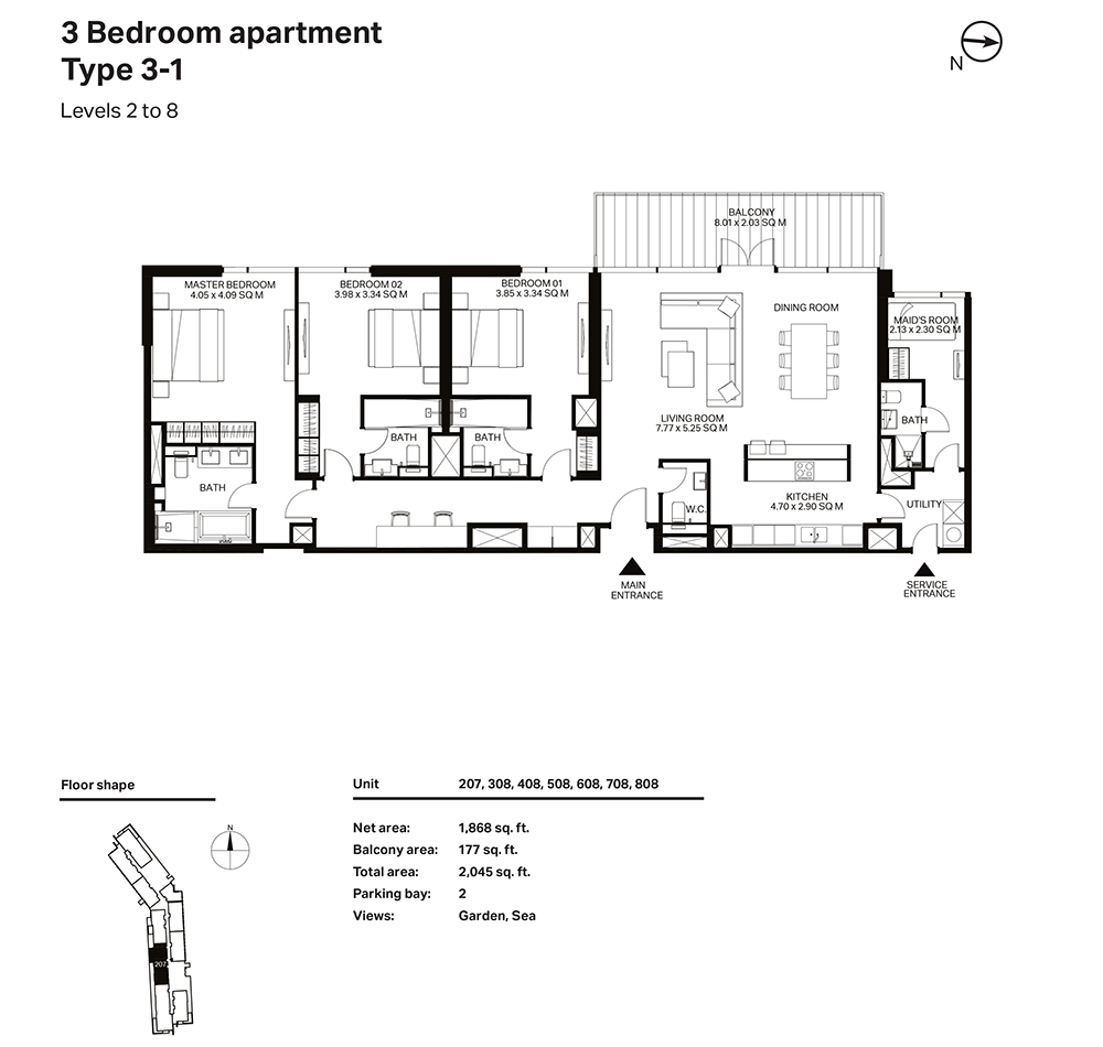 Building 3  -3 Bedroom Apartment Type 3 - 1  Level 2 to 8 Size 1868  sq. ft.
