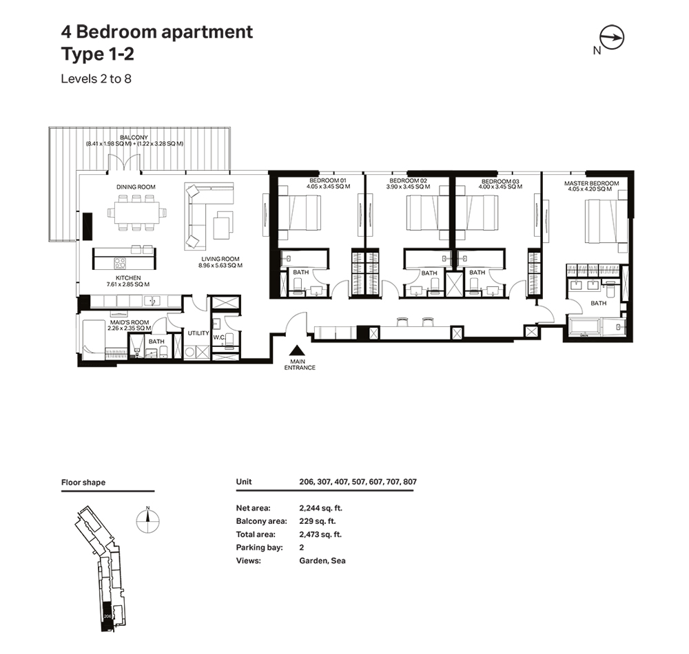 Building 3  -4 Bedroom Apartment Type 1 - 2 Level 2 to 8 Size 2473  sq. ft.