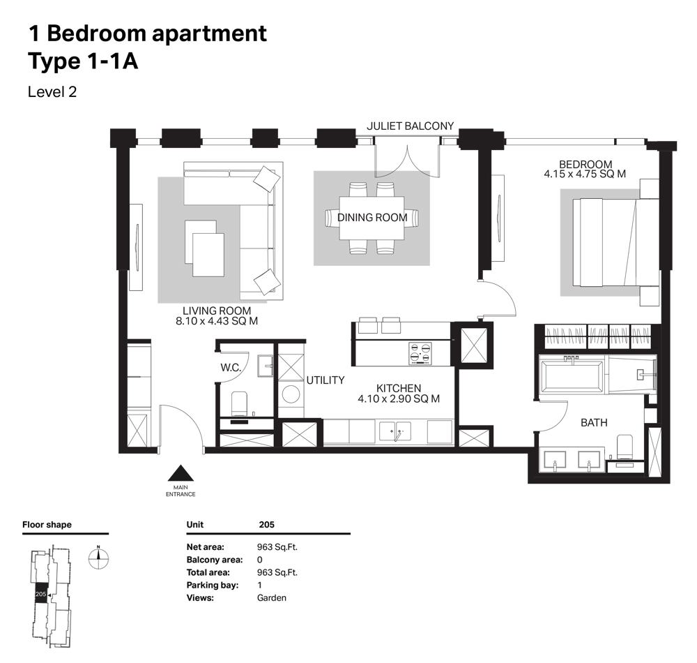 Building 6  -1 Bedroom Apartment Type 1 - 1 A Size 963  sq. ft.