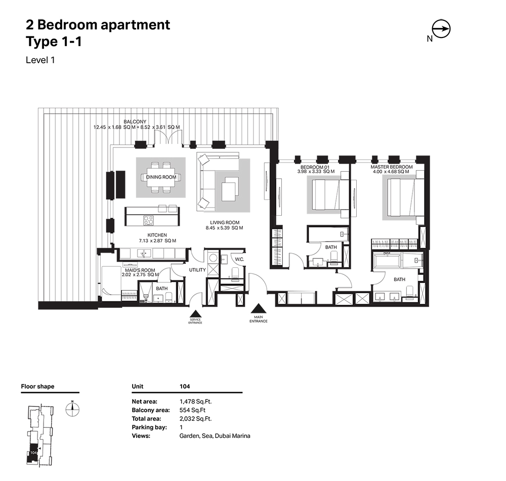 Building 6  -2 Bedroom  Apartment  Type 1 - 1 Level 1 Size 2032  sq. ft.
