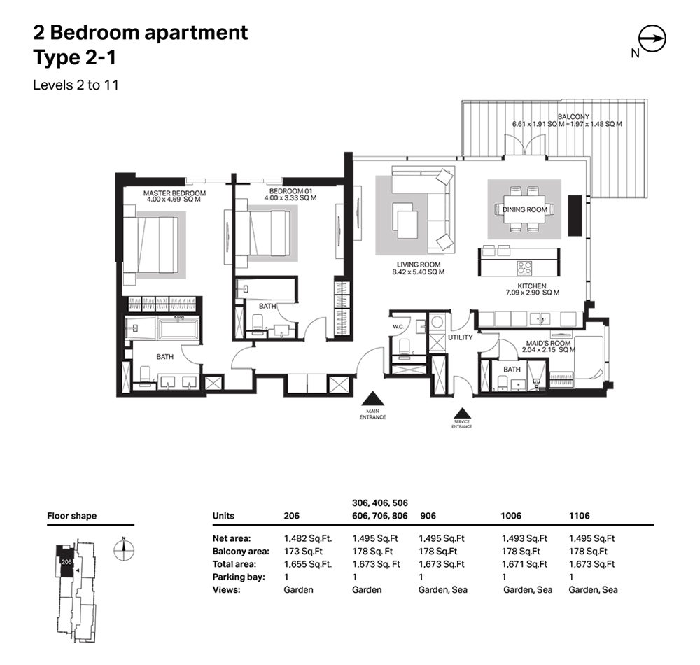 Building 6  -2 Bedroom Apartment Type 2 - 1 Level 2 to 11 Size 1673  sq. ft.