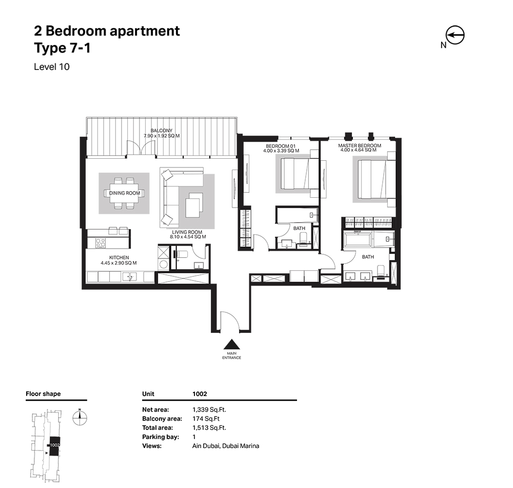 Building 6  -2 Bedroom Apartment Type 7 - 1 Level 10 Size 1513  sq. ft.