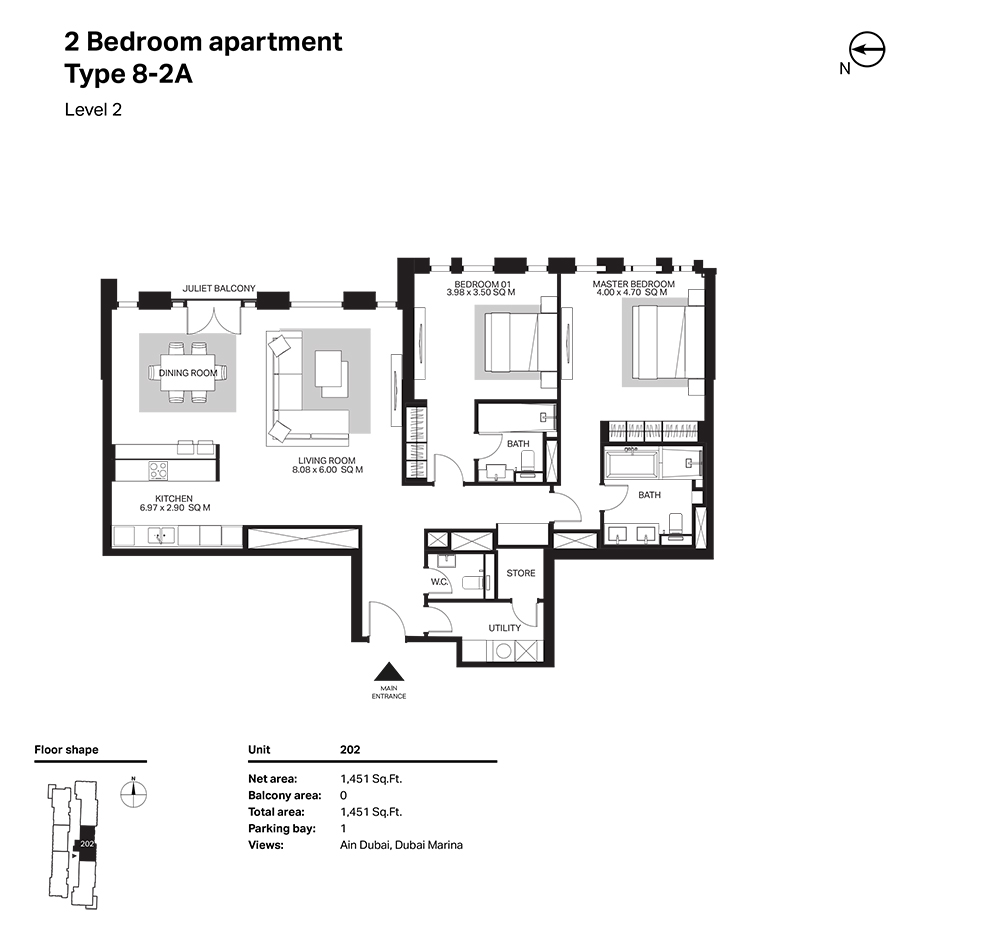 Building 6  -2 Bedroom Apartment Type 8 - 2 A  Level 2 Size 1451  sq. ft.
