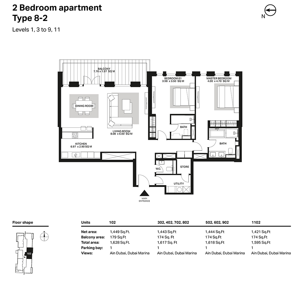 Building 6  -2 Bedroom Apartment Type 8 - 2 Level 1,3 to 9,11 Size 1628  sq. ft.
