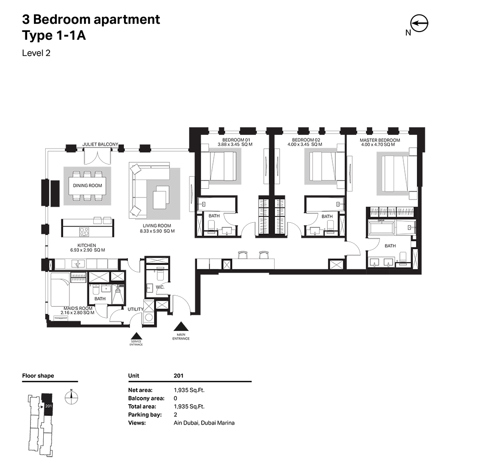 Building 6  -3 Bedroom Apartment Type 1 - 1 A  Level 2 Size 1935  sq. ft.