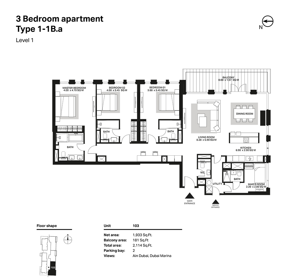 Building 6  -3 Bedroom Apartment Type 1 - 1 B. a Level 1 Size 2114  sq. ft.
