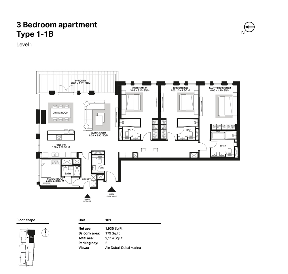 Building 6  -3 Bedroom Apartment Type 1 - 1 B Level 1 Size 2114  sq. ft.