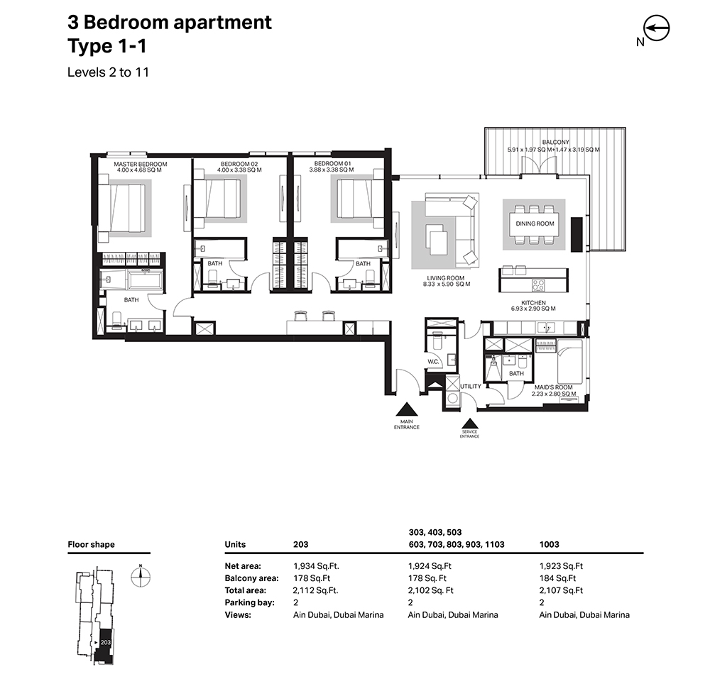 Building 6  -3 Bedroom Apartment Type 1 - 1 - Level 2 to 11 Size 2112  sq. ft.