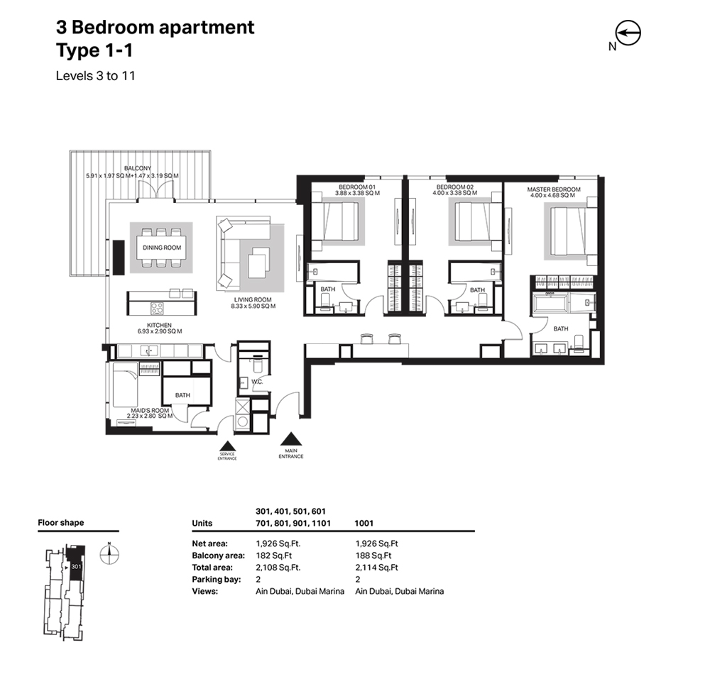 Building 6  -3 Bedroom Apartment Type 1 - 1 - Level 3 to 11 Size 2114  sq. ft.