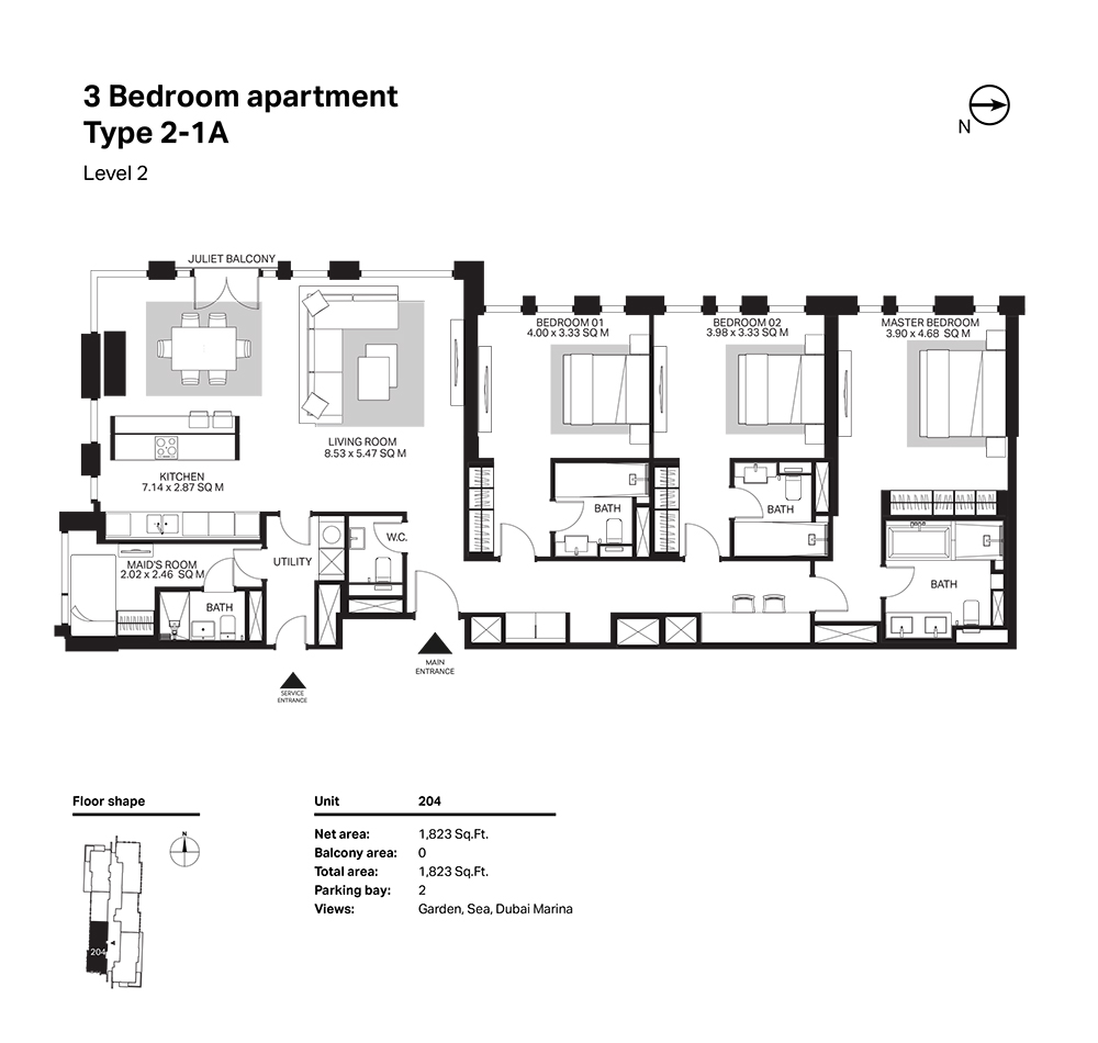 Building 6  -3 Bedroom Apartment Type 2 - 1 A  Level 2 Size 1823  sq. ft.