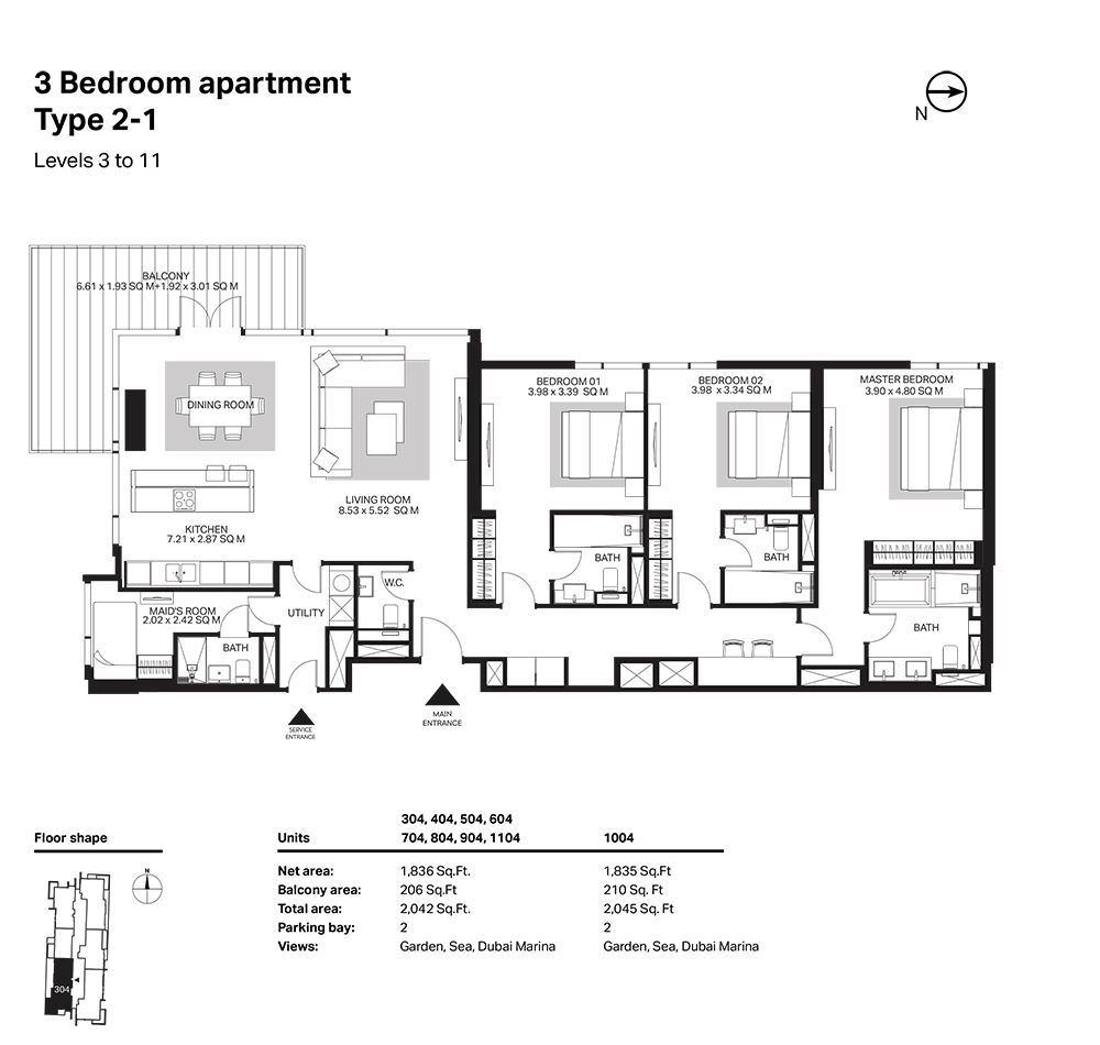 Building 6  -3 Bedroom Apartment Type 2 - 1 Level 3 to 11 Size 2045  sq. ft.