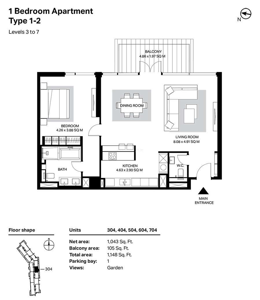 Building 4 - 1 Bedroom Type 1 - 2, Level 3 To 7, Size 1148    sq. ft.