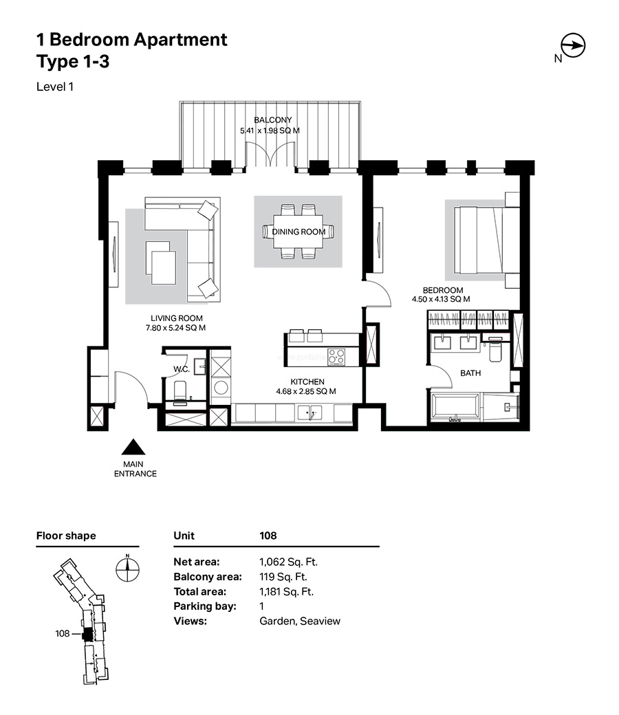 Building 4 - 1 Bedroom Type 1-3 -  Level 1 Size 1181    sq. ft.