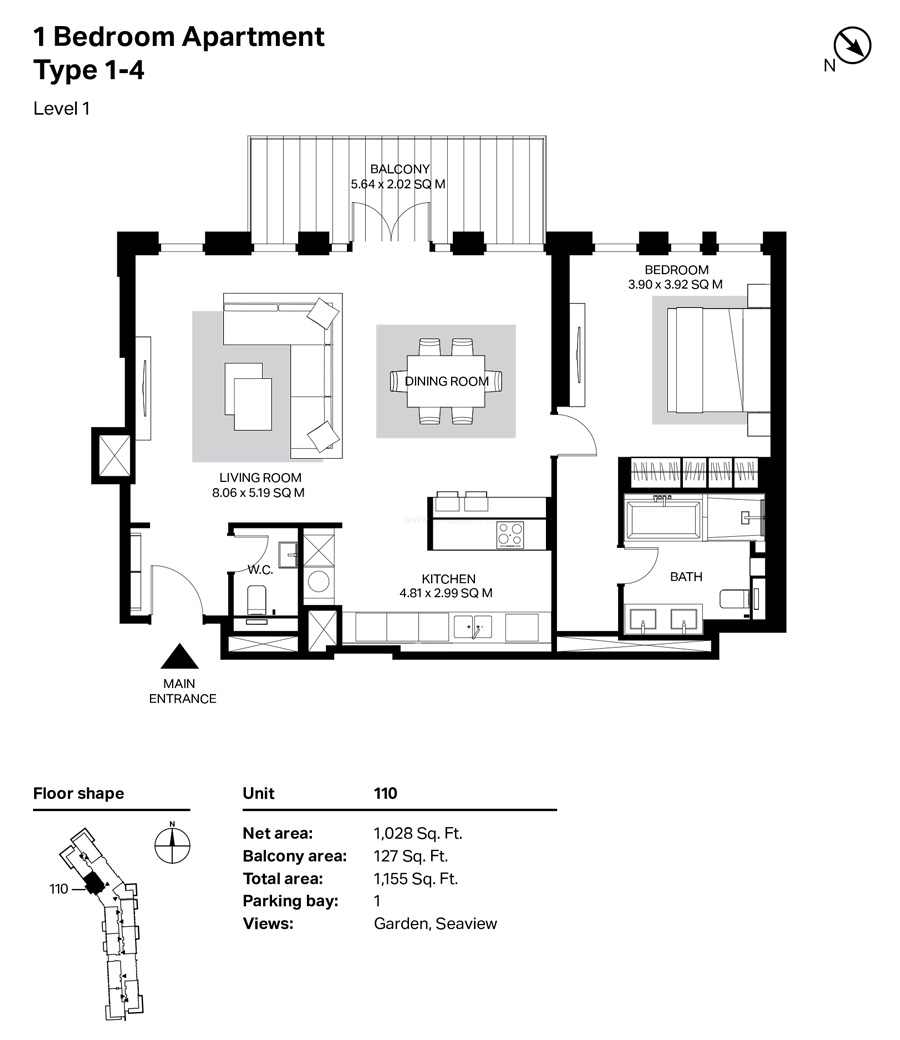 Building 4 1 Bedroom Type1-4  Level 1 Size 1155    sq. ft.