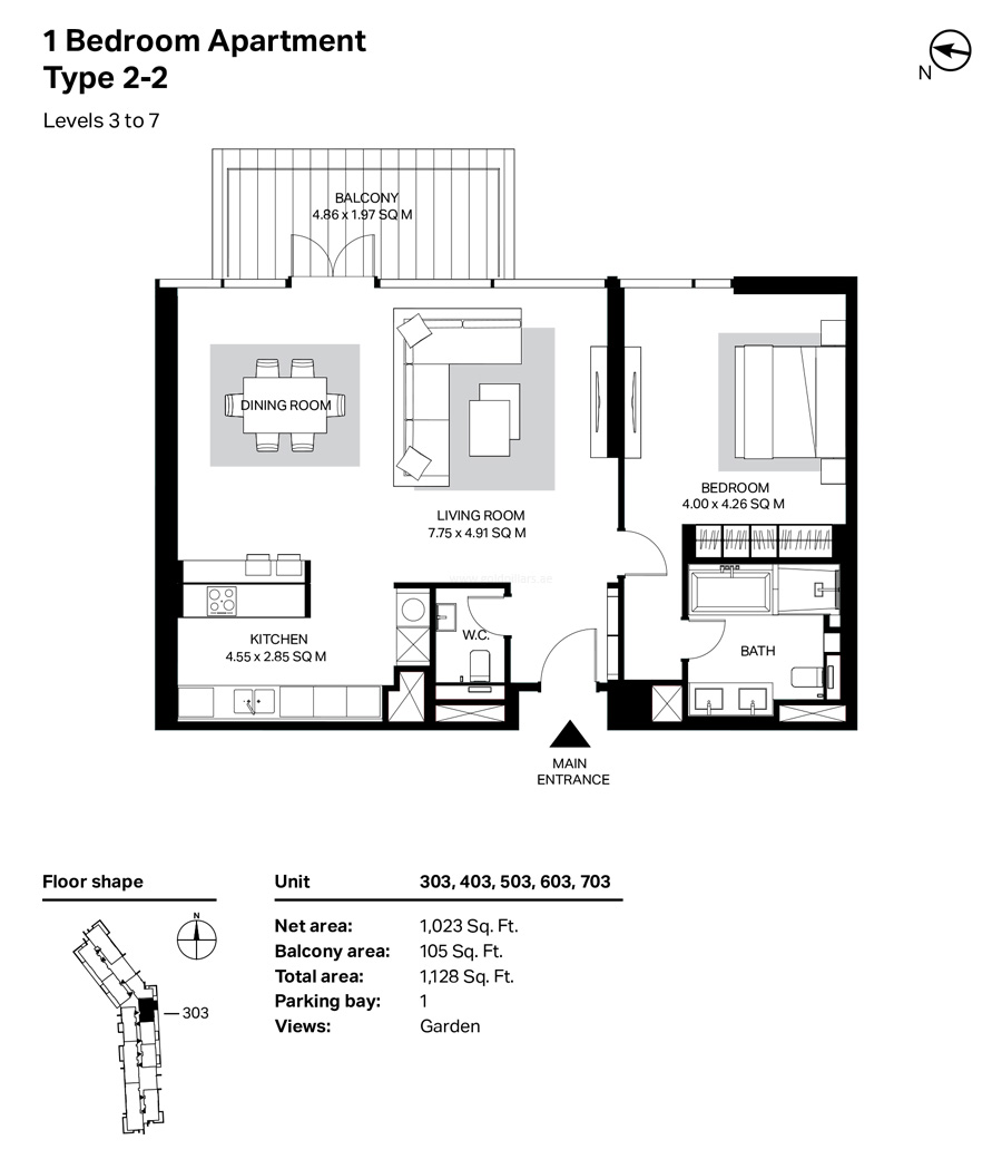 Building 4 - 1 Bedroom Type 2-2 Level 3 To 7  Size 1128    sq. ft.