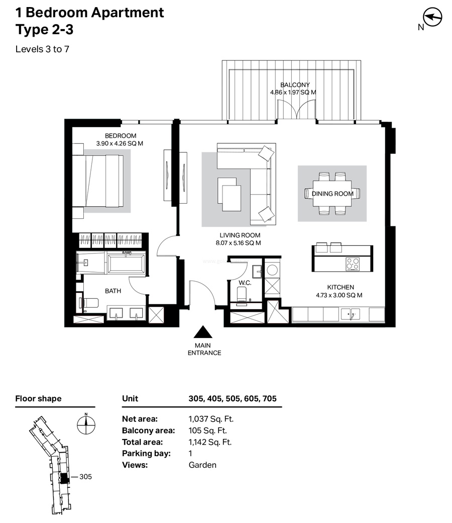 Building 4 - 1 Bedroom Type 2-3  Level 3 To 7 Size 1142    sq. ft.