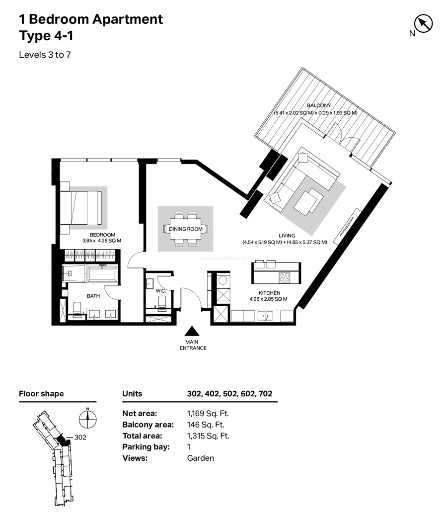 Building 4 - 1 Bedroom Type 4-1 Level 3 To 7  Size 1315    sq. ft.