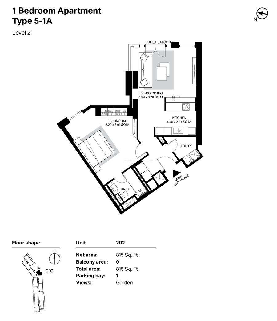 Building 4 - 1 Bedroom Type 5-1 A Level 2  Size 815  sq. ft.