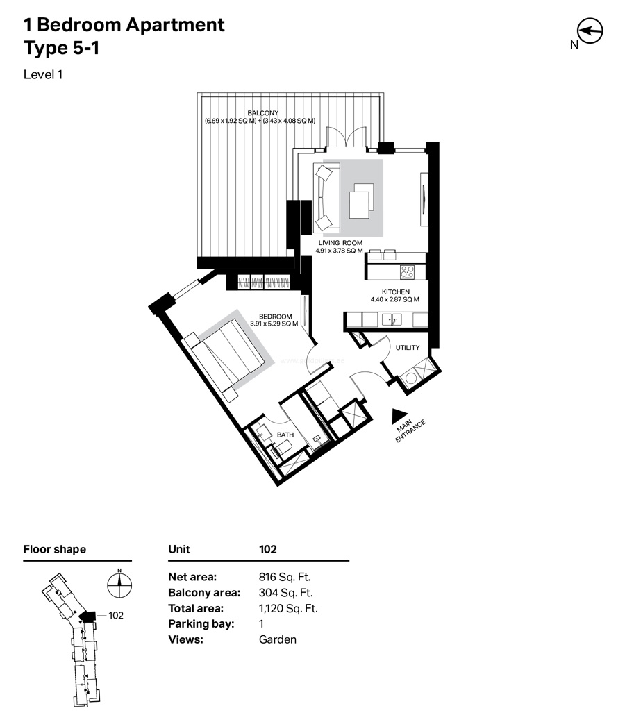 Building 4 - 1 Bedroom Type 5-1 Level 1 Size 1120    sq. ft.