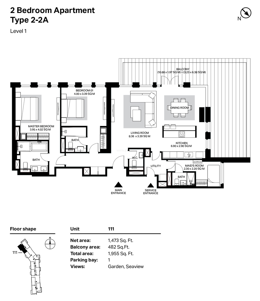 Building 4 - 2 Bedroom Type 2-2A  Level 1  Size 1955    sq. ft.