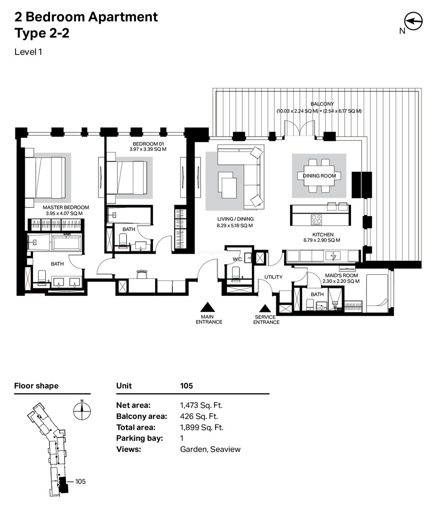 Building 4 - 2 Bedroom Type 2-2  Level 1  Size 1899    sq. ft.
