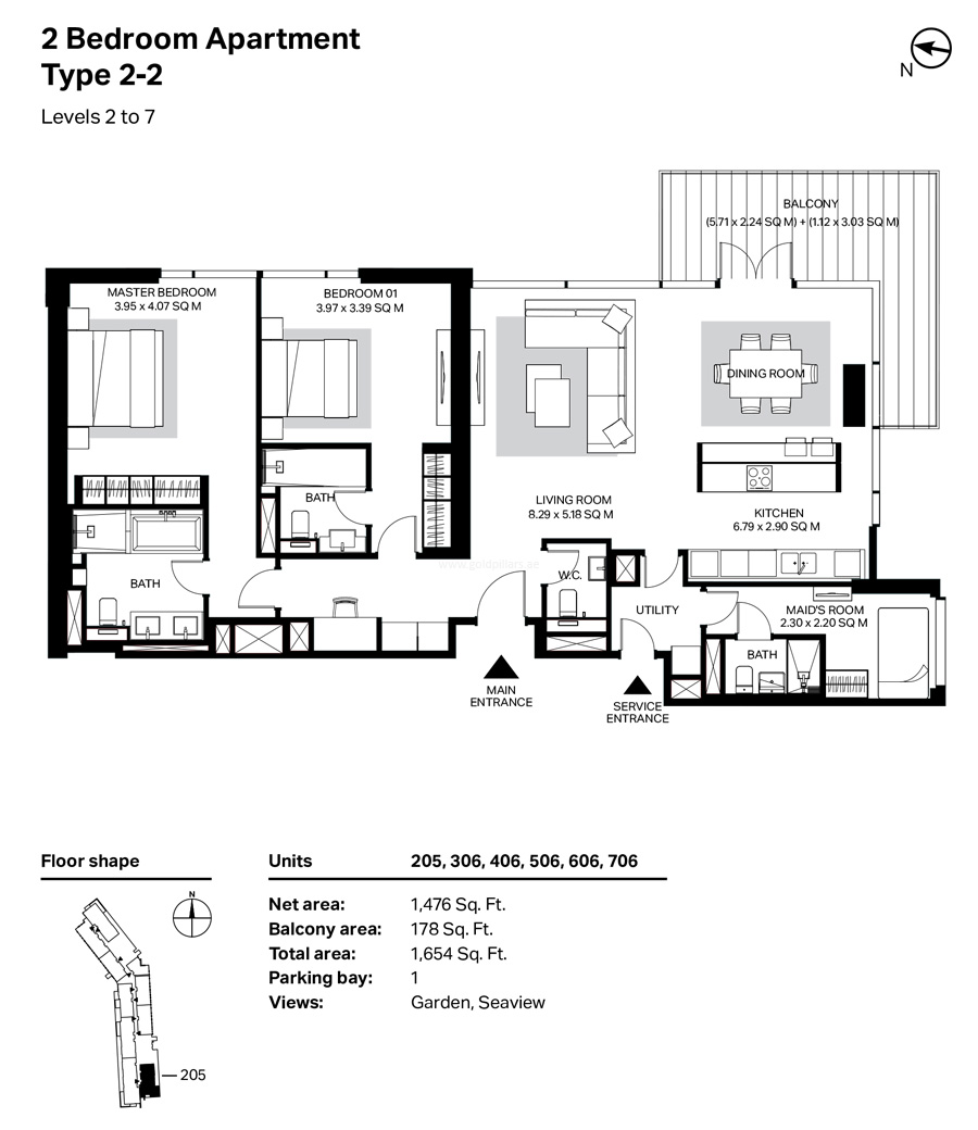Building 4 2 Bedroom Type 2-2  Level 2 To 7 Size 1654    sq. ft.