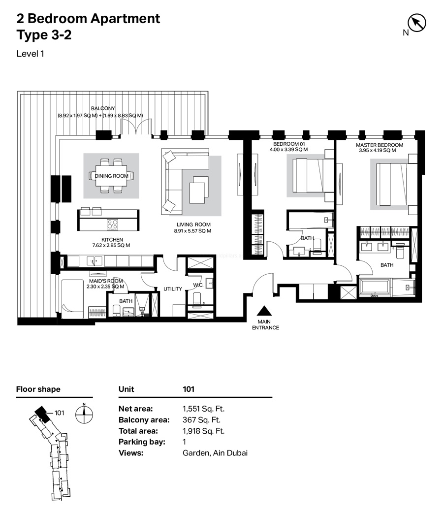 Building 4 2 Bedroom Type 3-2 Level 1  Size 1918    sq. ft.