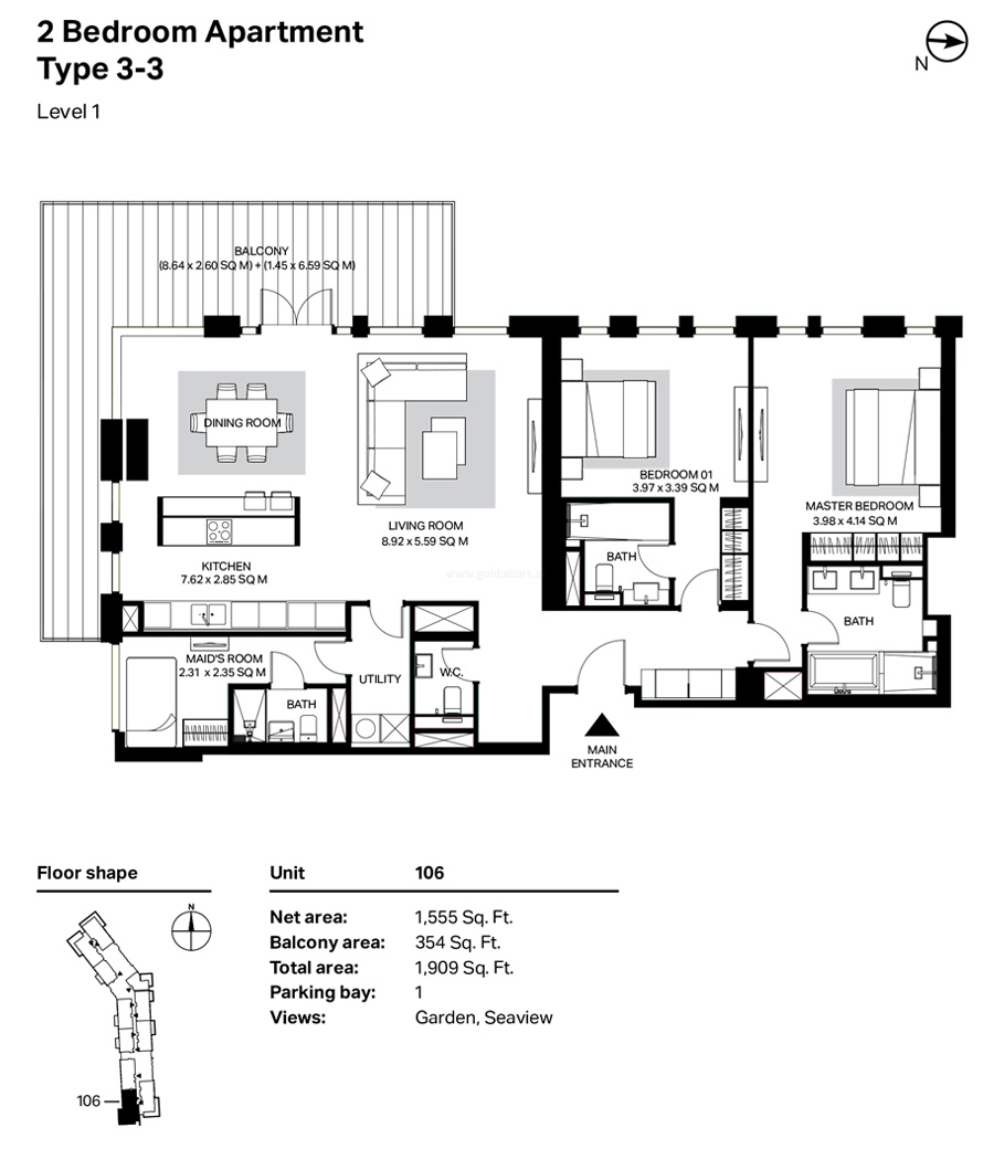Building 4 - 2 Bedroom Type 3-3 Level 1 Size 1909    sq. ft.