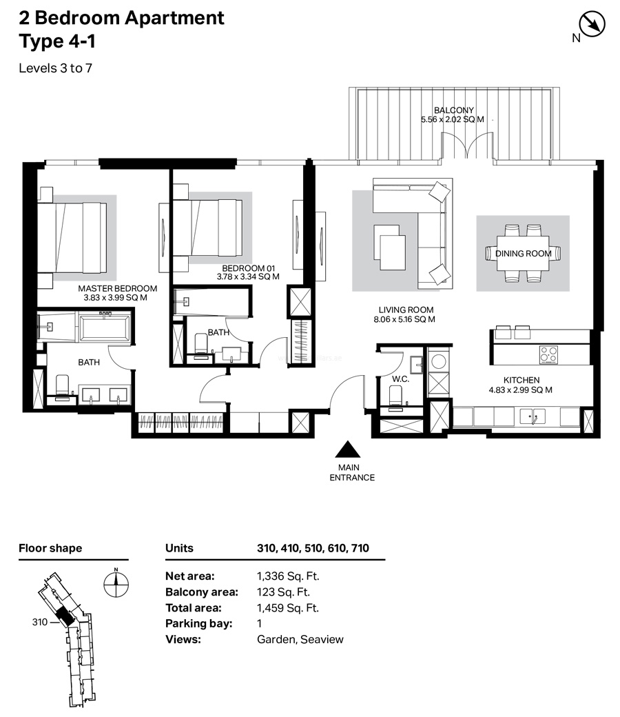 Building 4 - 2 Bedroom Type 4-1 Level 3 To 7 Size 1459    sq. ft.