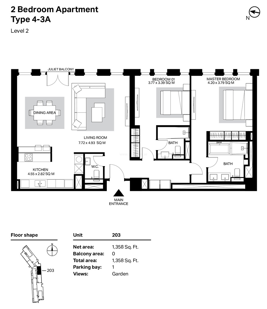 Building 4 - 2 Bedroom Type 4-3A Level 2 Size 1358    sq. ft.
