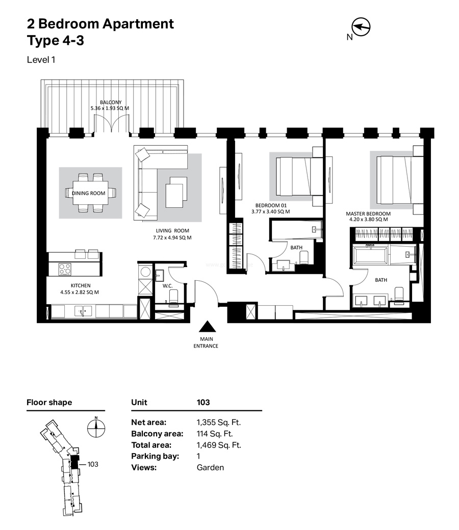 Building 4 2 Bedroom Type 4-3 Level 1 Size 1469    sq. ft.