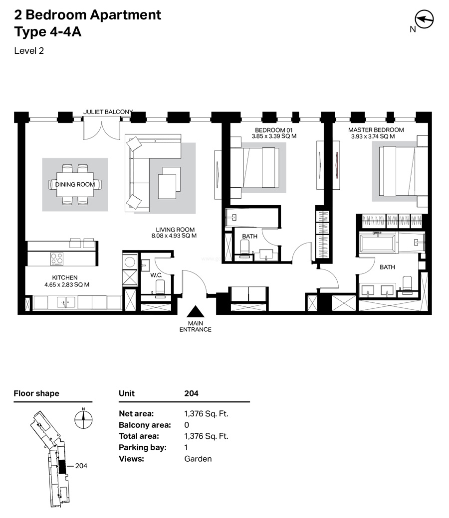 Building 4 - 2 Bedroom Type 4-4A Level 2  Size 1376    sq. ft.