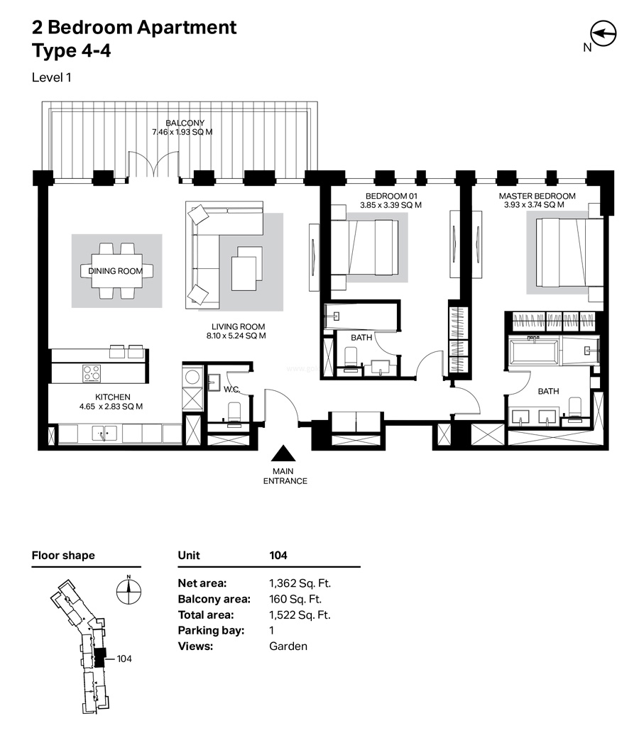 Building 4 - 2 Bedroom Type 4-4 Level 1 Size 1522  sq. ft.