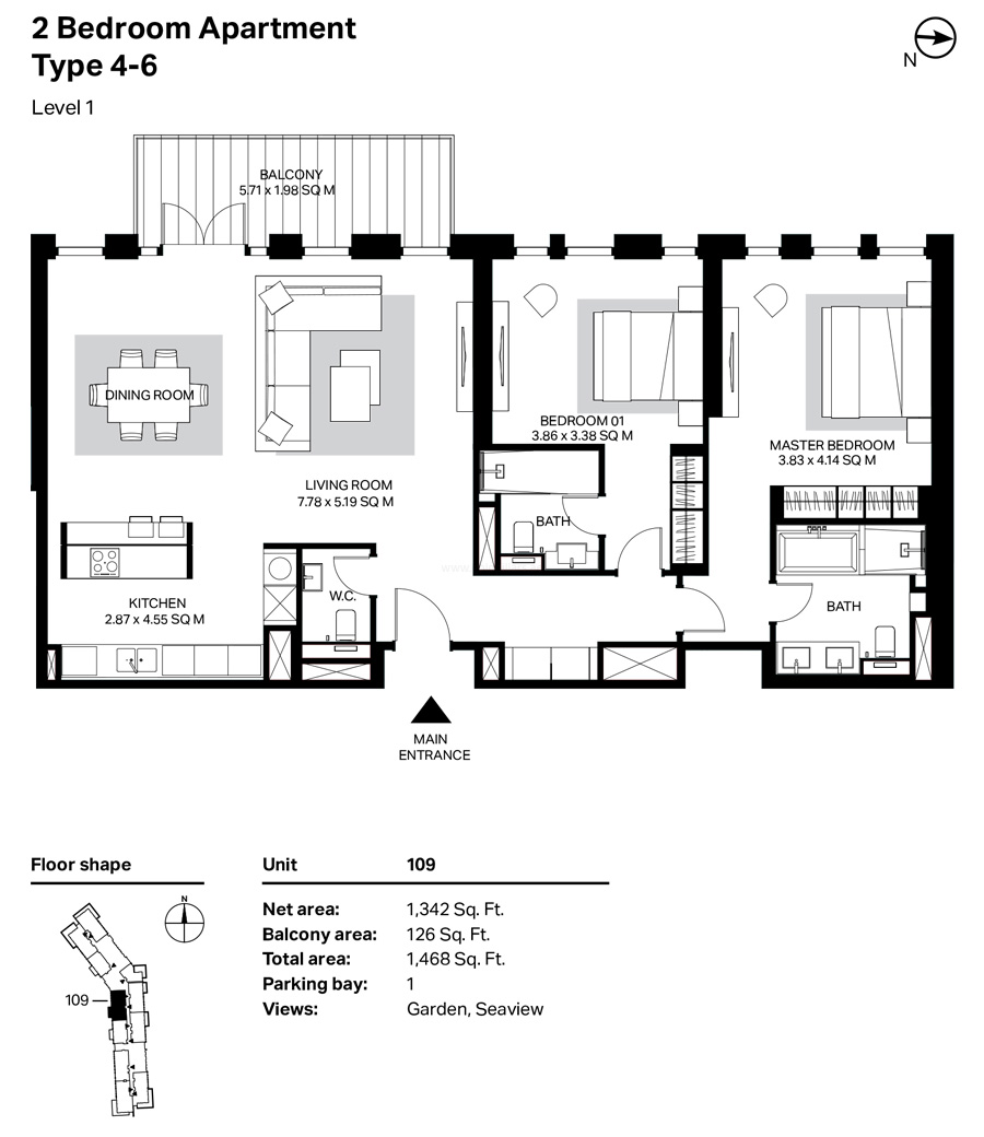 Building 4 - 2 Bedroom Type 4-6 Level 1 Size 1468  sq. ft.