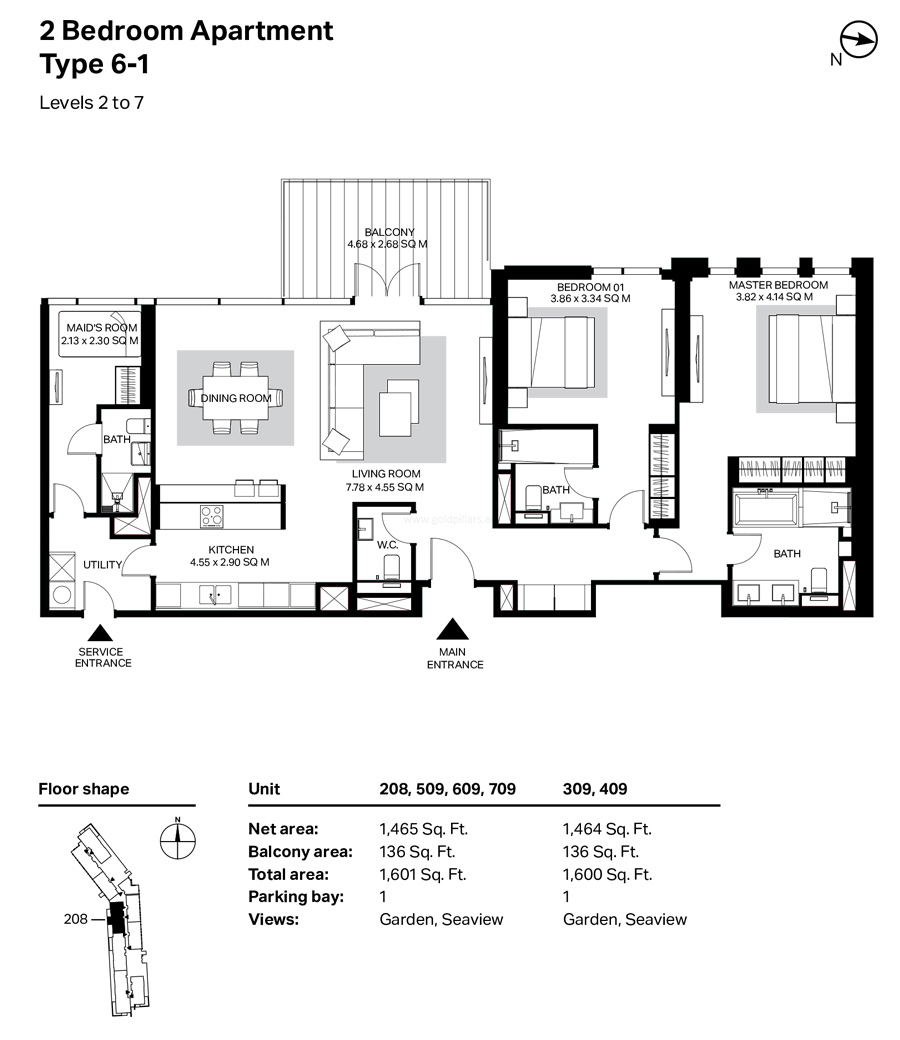 Building 4 - 2 Bedroom Type 6-1 Level 2 To 7 Size 1601    sq. ft.