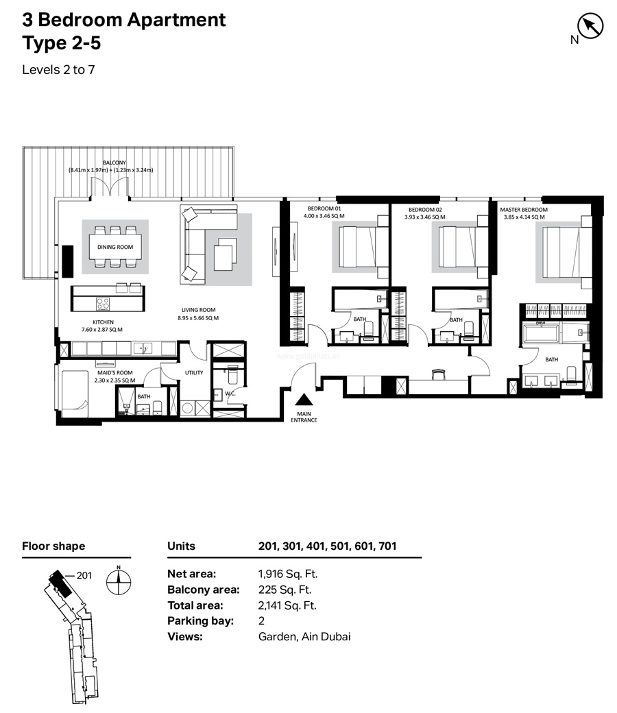 Building 4 - 3 Bedroom Type 2-5 Level 2 To 7 Size 2141    sq. ft.