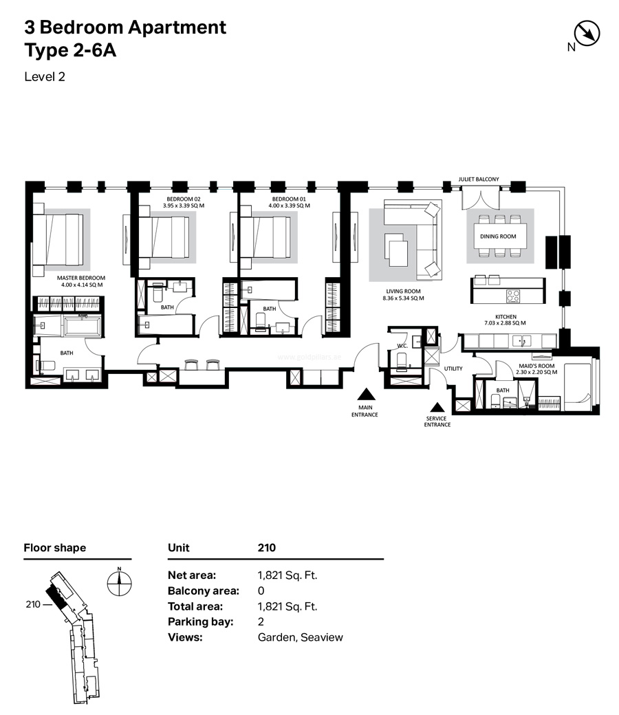 Building 4 - 3  Bedroom Type 2-6A Level 2  Size 1821    sq. ft.