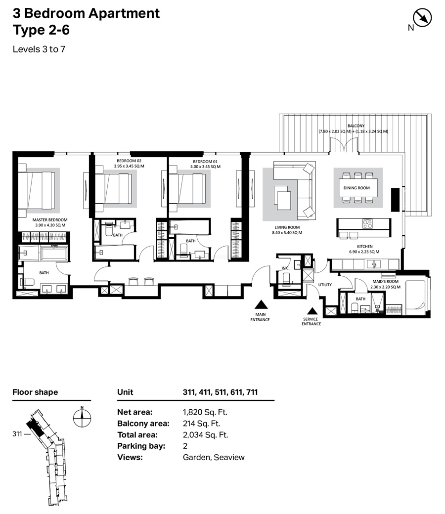 Building 4 3 Bedroom Type 2-6 Level 3 To 7 Size 2034    sq. ft.